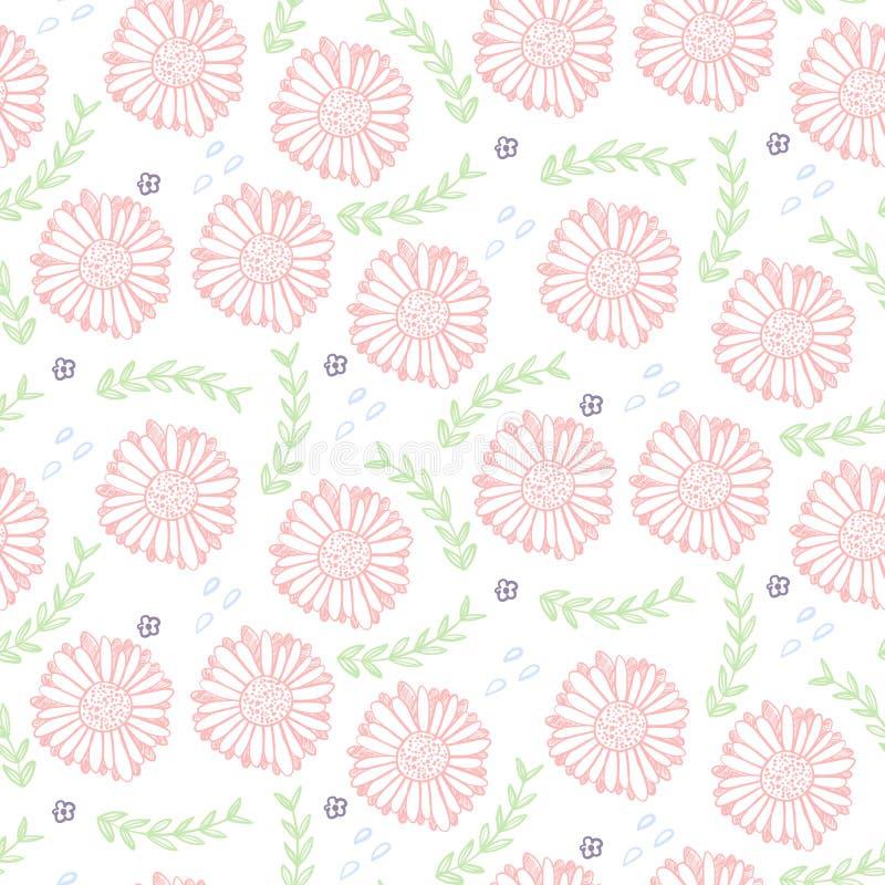Teder bloemenpatroon met lichtrose bloemen stock illustratie