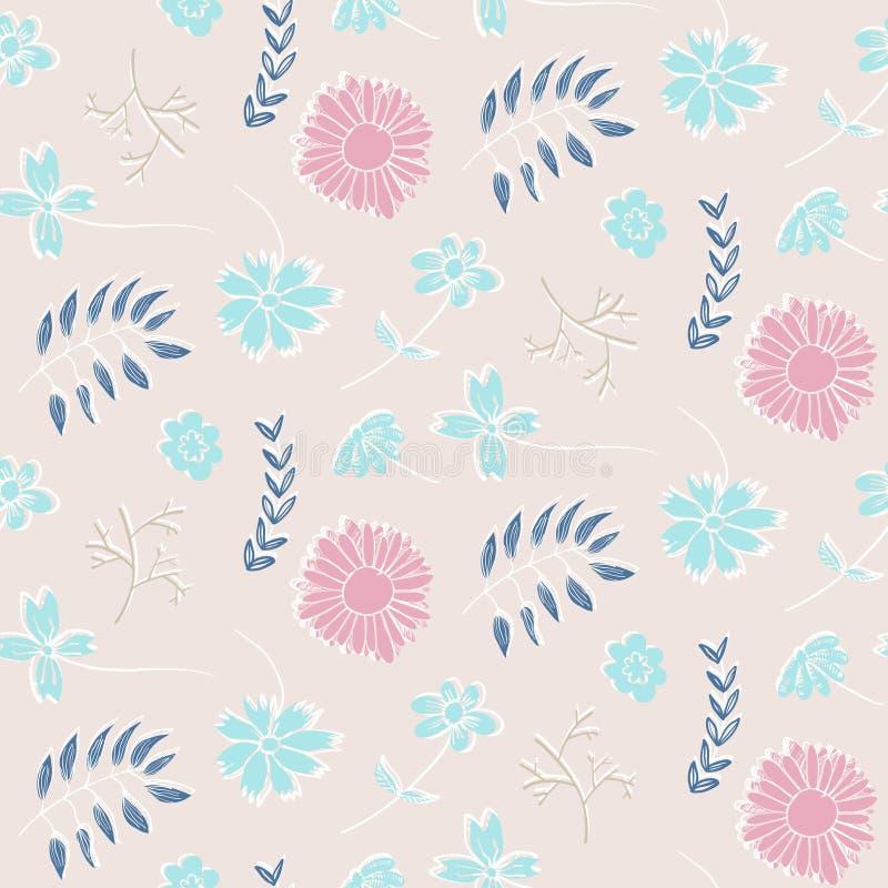 Teder roze bloemenpatroon met bloemen en bladeren royalty-vrije illustratie