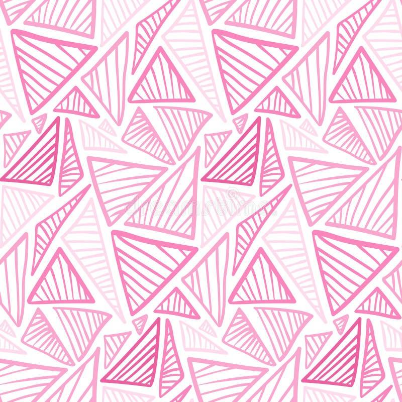 Teder roze naadloos patroon met krabbeldriehoeken royalty-vrije illustratie