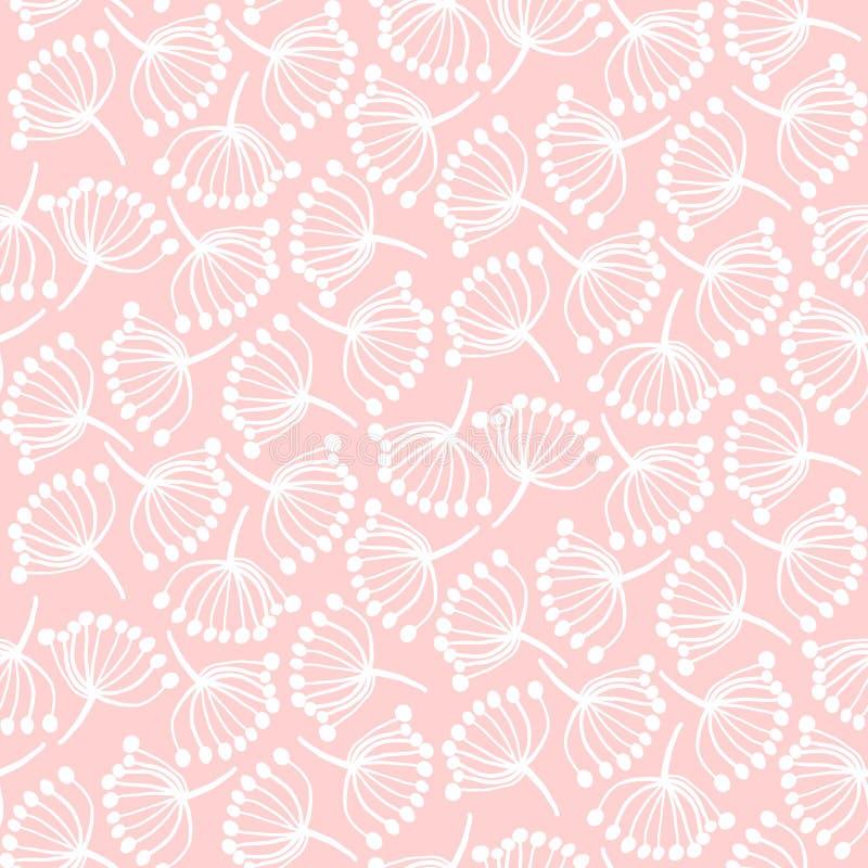Teder roze patroon met abstracte paardebloemen stock illustratie