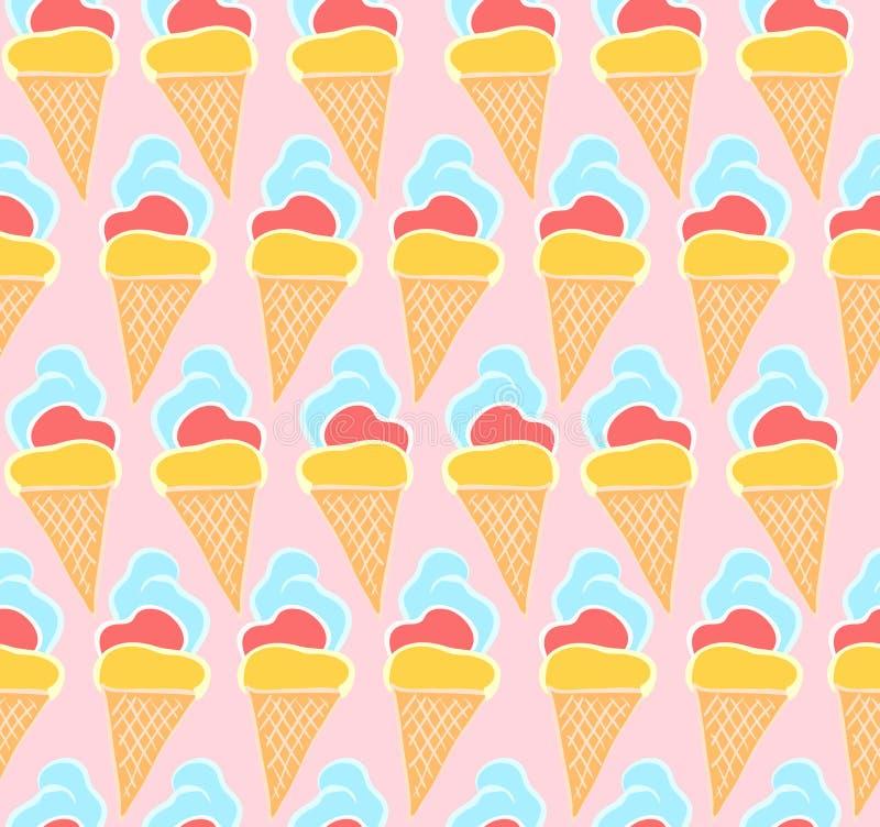 Teder roze patroon met hand getrokken roomijs royalty-vrije illustratie