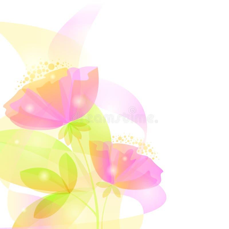 Tedere achtergrond met roze abstracte bloemen Eps 10 stock illustratie