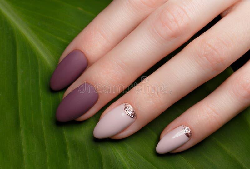 Tedere keurige manicure op vrouwelijke handen op groene bladerenachtergrond Spijkerontwerp royalty-vrije stock afbeelding