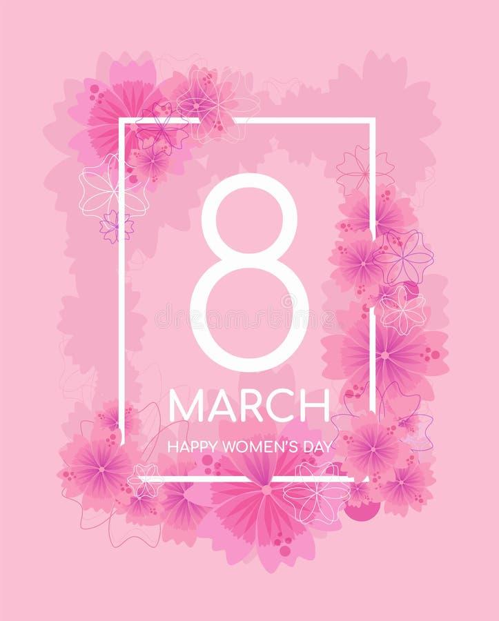 Tedere roze kleur 8 maart-groetkaart stock illustratie
