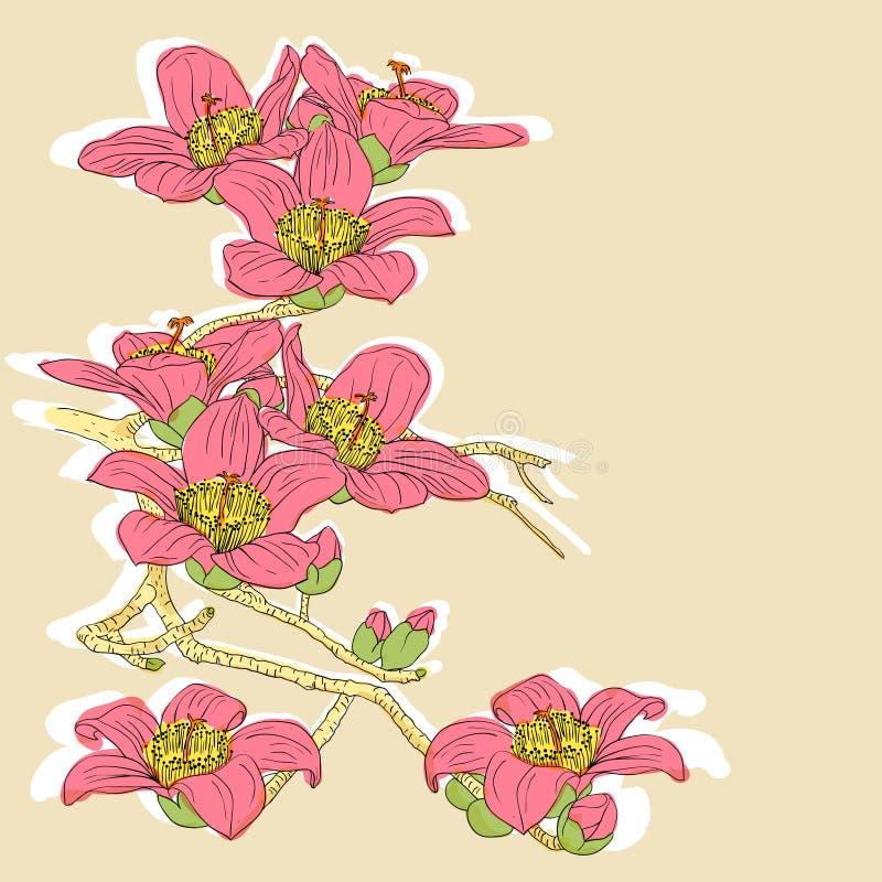 Tedere takje tot bloei komende orchideeën stock illustratie