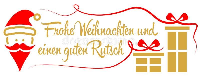 Tedesco dorato rosso di vettore di Buon Natale di Frohe Weihnachten illustrazione vettoriale