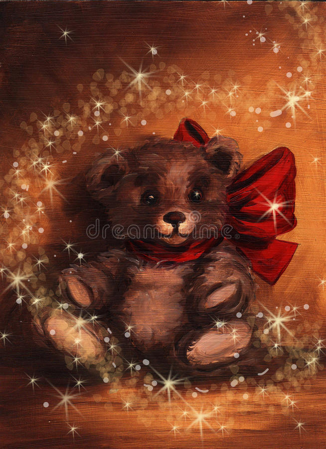 tedy present för björnjulmagi vektor illustrationer