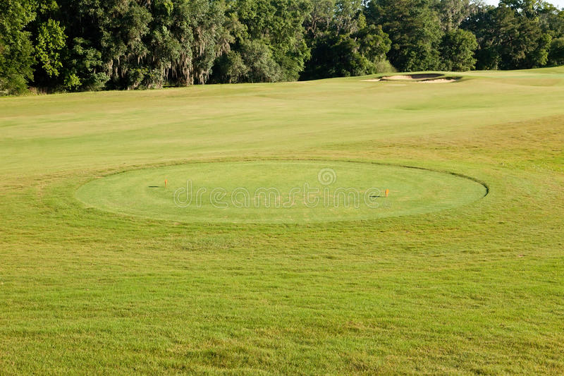 Tee Box. On Florida golf course resort stock image