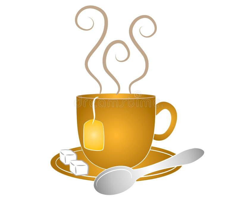 Tee-Cup-Löffel und Zucker lizenzfreie abbildung