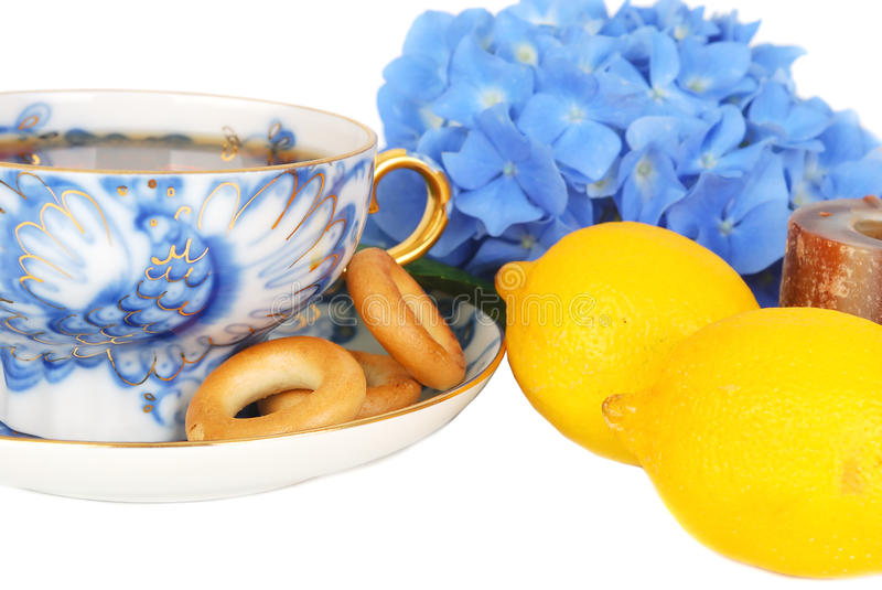Tee And Dray Rings Cookies And Lemons Closeup. Stock Photography