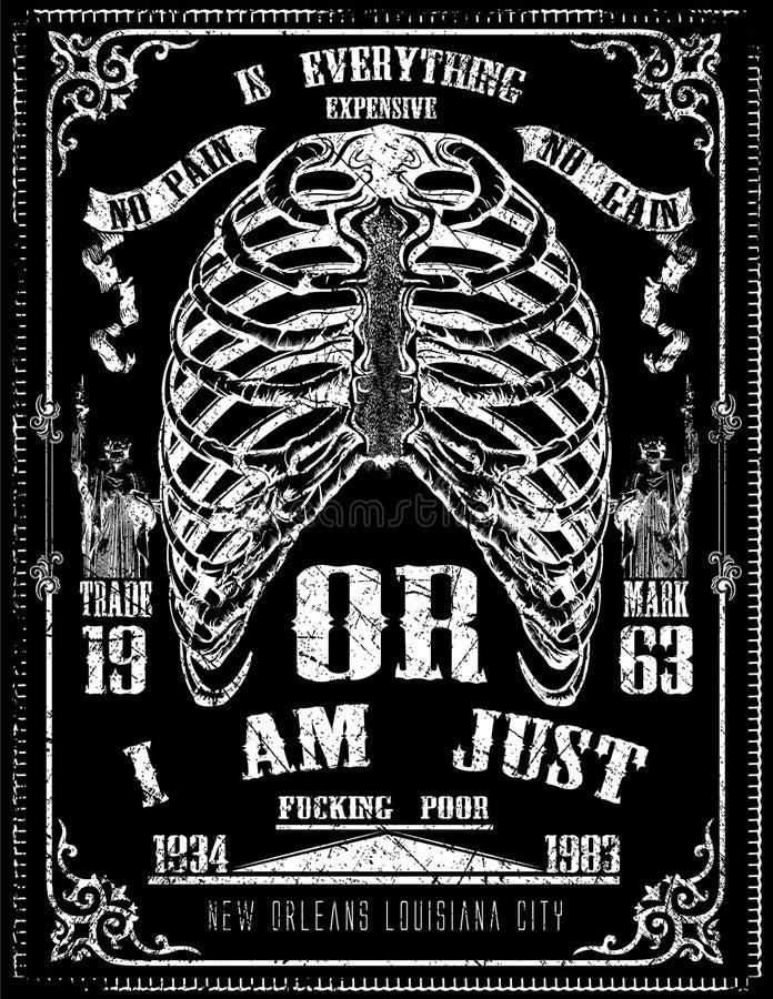 Tee graphic design skeleton detail poster art royalty free illustration