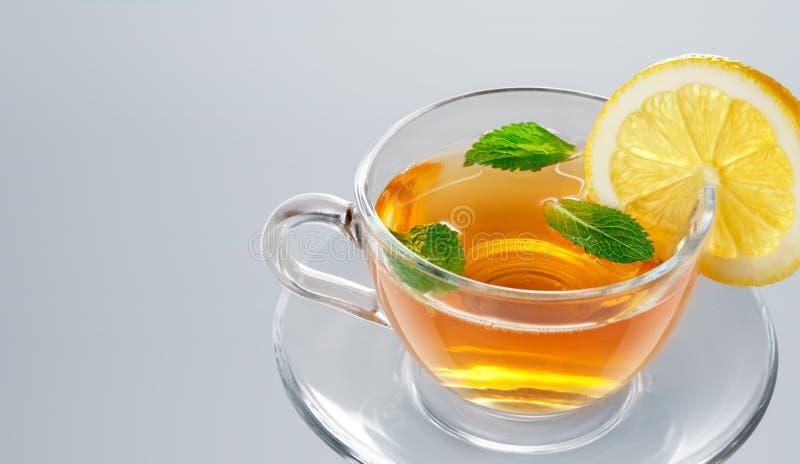 Tee im Cup mit Blattminze und -zitrone stockfotos