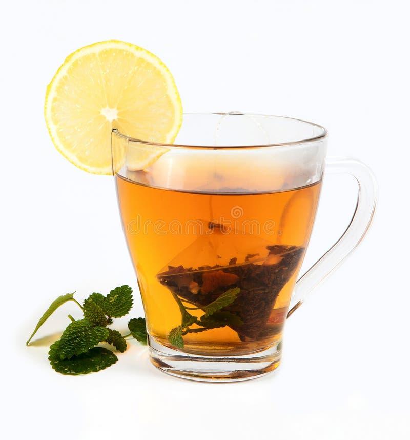Tee im Cup mit Blattminze und -zitrone lizenzfreies stockbild