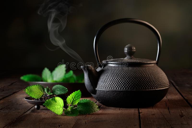 Tee infuser mit tadellosen Blättern stockfoto