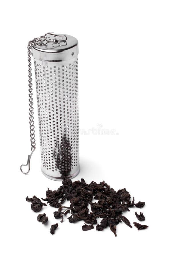 Tee infuser Zylinder mit einer Handvoll Tee stockfotos