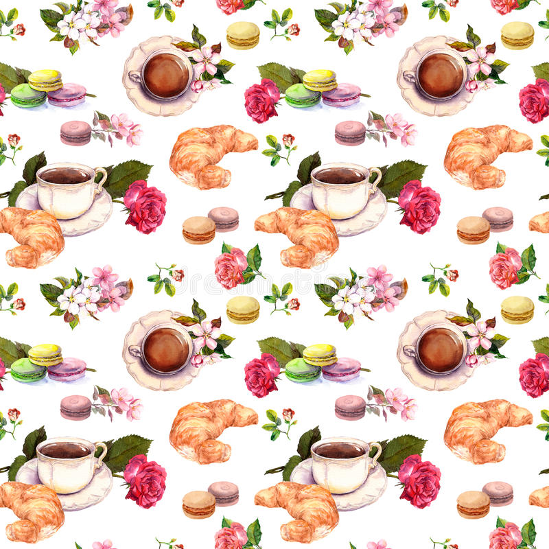 Tee, Kaffeemuster - Blumen, Hörnchen, Teetasse, Makrone backt zusammen watercolor nahtlos lizenzfreie stockfotografie