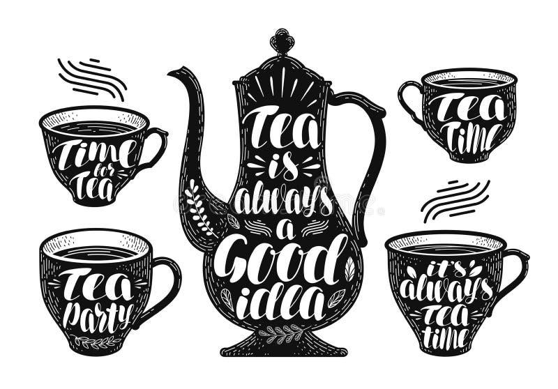 Tee-Kennsatzfamilie Brauenteekanne, Schale, heiße Getränkikone oder Logo Handgeschriebene Beschriftungsvektorillustration vektor abbildung