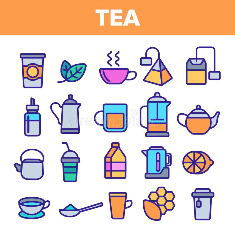 Tee-Linie Ikonen-Satz-Vektor Restaurant-Aufkleber-Entwurf Tee-Getr?nk-Ikonen Traditionelles Becher-Piktogramm D?nnes Entwurfs-Net stock abbildung