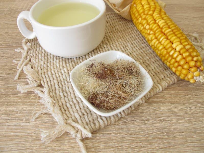 Tee mit Maisseide, Maydis-Schande lizenzfreies stockfoto