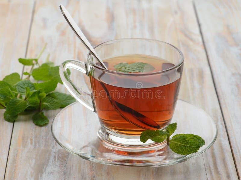 Tee mit Minze auf hölzernem Hintergrund lizenzfreie stockbilder