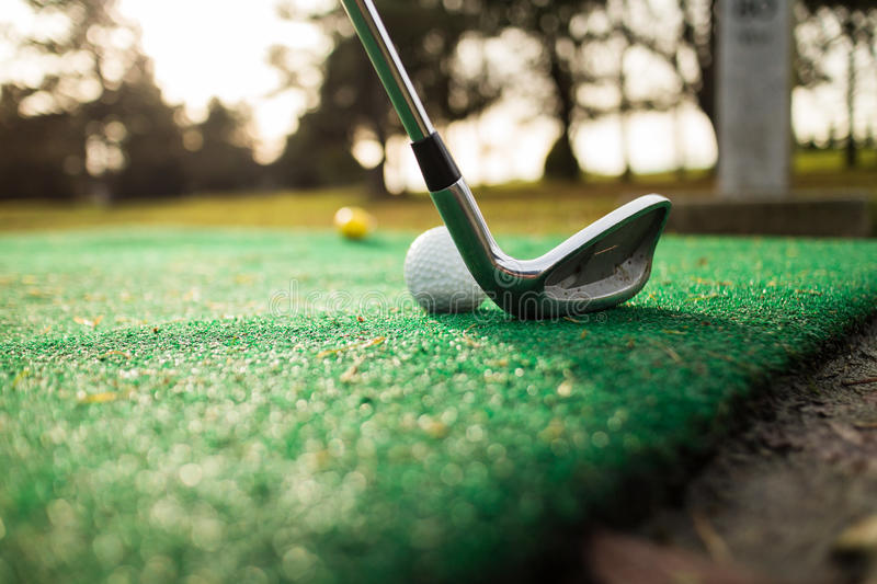 Tee off at pitch and putt royalty free stock image