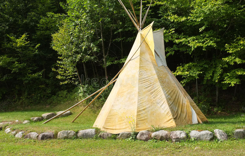Tee pee. In a forest, Quebec, Canada royalty free stock photo