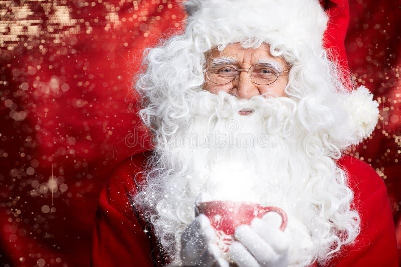 Tee Santa Clauss trinkendes Nahaufnahme-Porträt lokalisiert auf Rot lizenzfreie stockbilder
