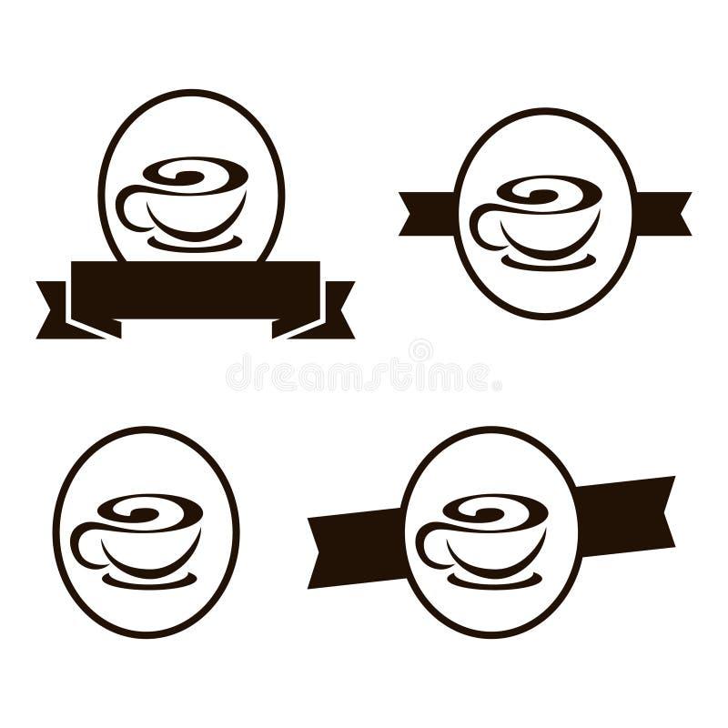 Tee-Schokoladen-Kaffeestube-Emblem Logo Template lizenzfreie abbildung