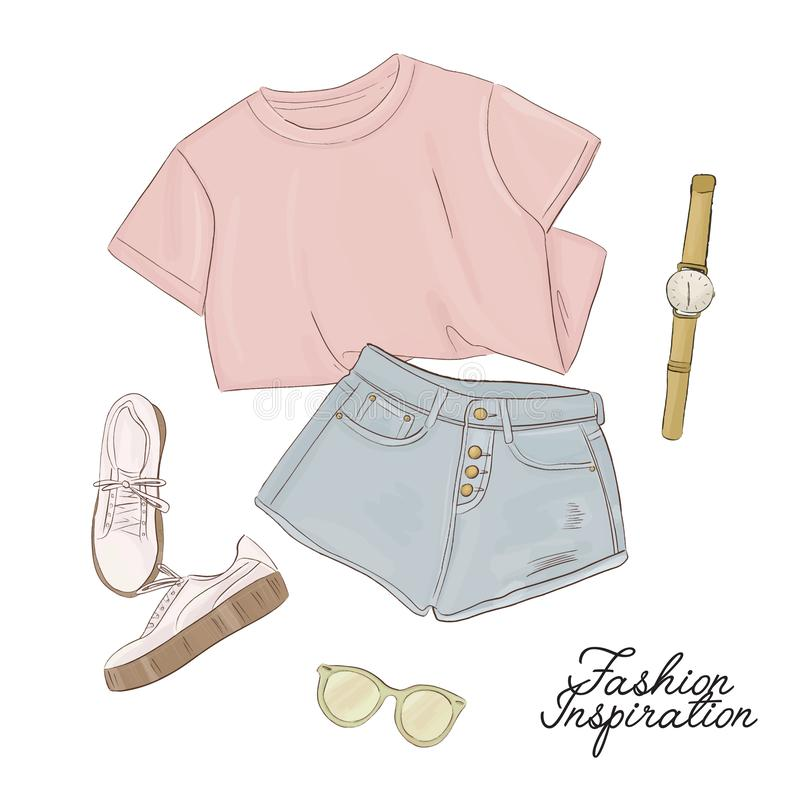Tee, shorts, sneakers, sunglasses and watches sketch. Fashion women illustration. Modern trendy art. Hannd drawn summer. Closes set. Flatlay outfit royalty free illustration
