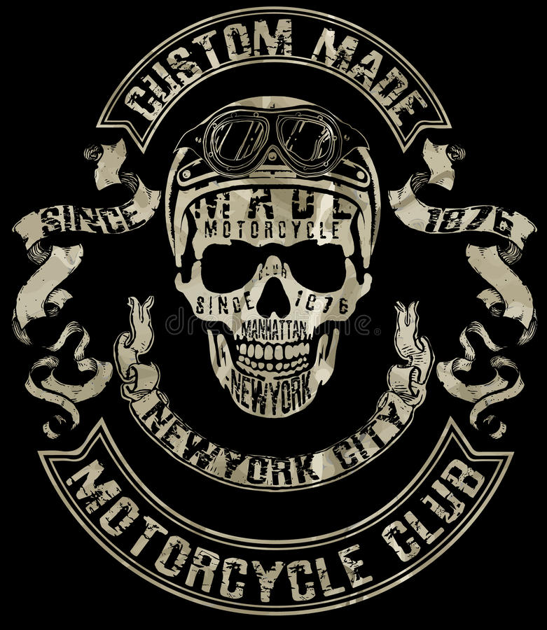 Tee Skull Motorcycle Graphic Design Stock Vector Illustration Of Rider Eagle 69997699