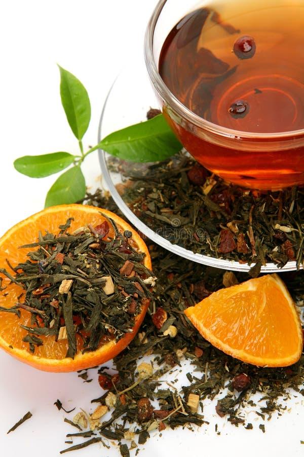 Tee und Frucht stockfoto