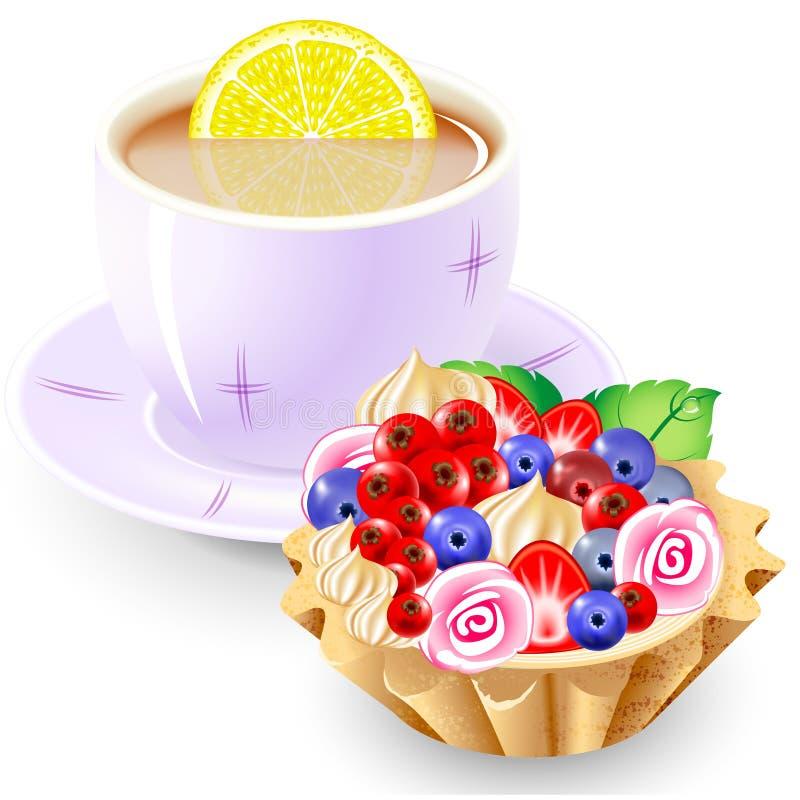 Tee- und Fruchtkorb stock abbildung