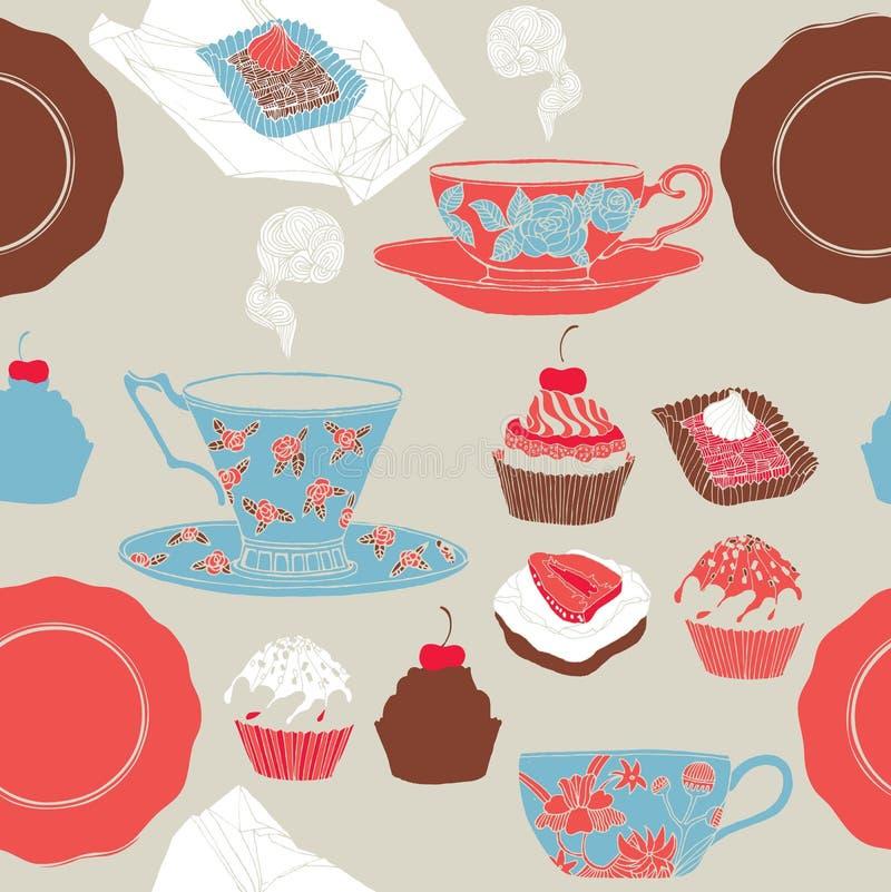 Tee und kleine Kuchen. lizenzfreie abbildung