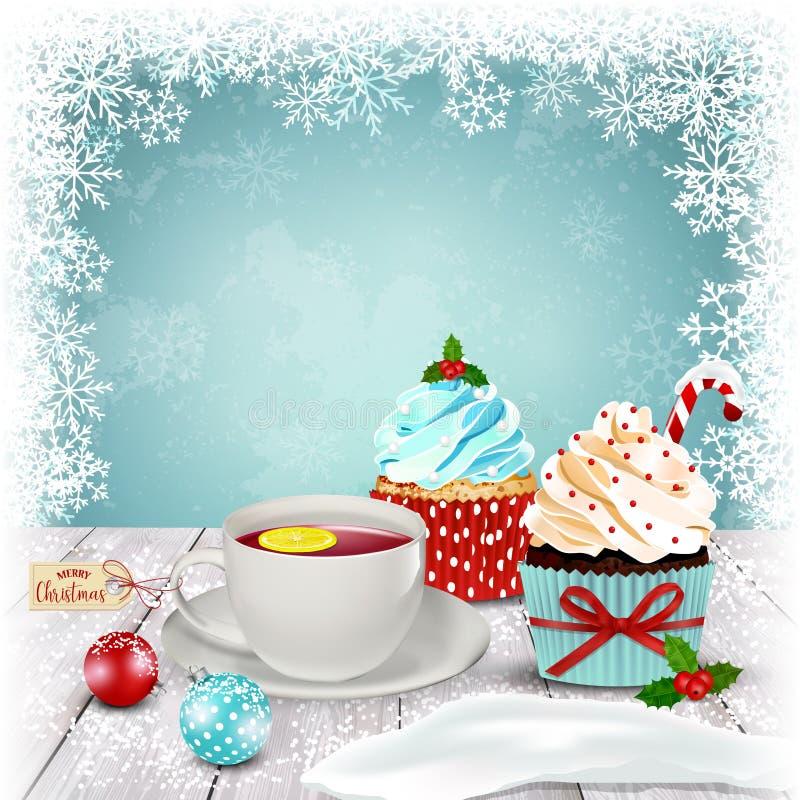 Tee und kleine Kuchen auf Tabelle Abstraktes Hintergrundmuster der weißen Sterne auf dunkelroter Auslegung Vektor lizenzfreie abbildung