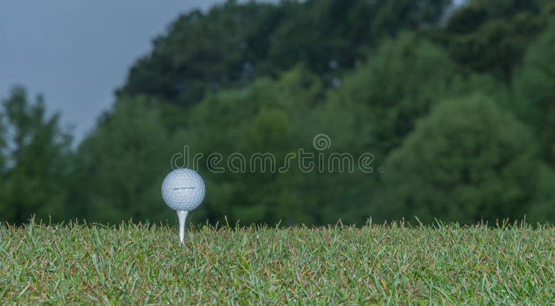 Tee Up. Golf ball on a tee on the grass at the tee box royalty free stock photos