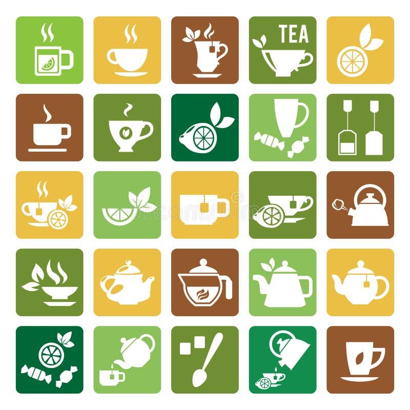 Tee-Zeit-Ikonen stock abbildung