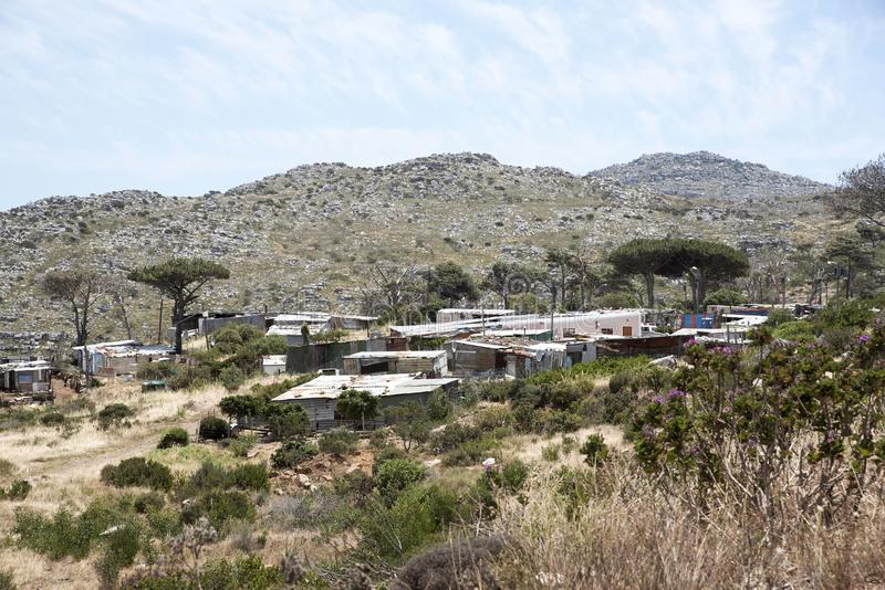 Informal housing in the southern cape region of South Africa stock image