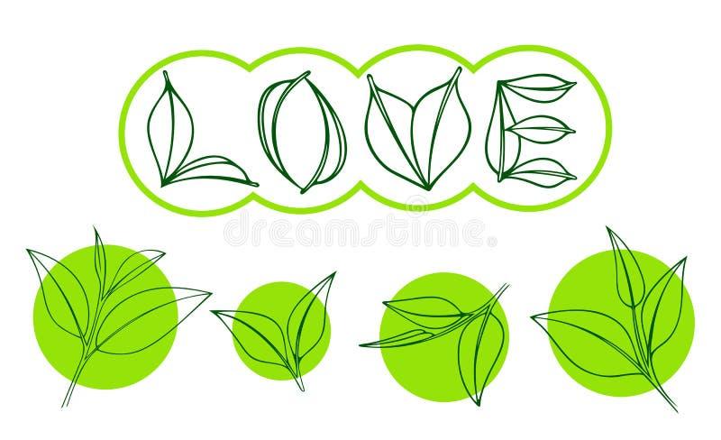 Teeblatt auf grünem Kreis Teeblätter in Form von dem Wort LIEBE stockbilder