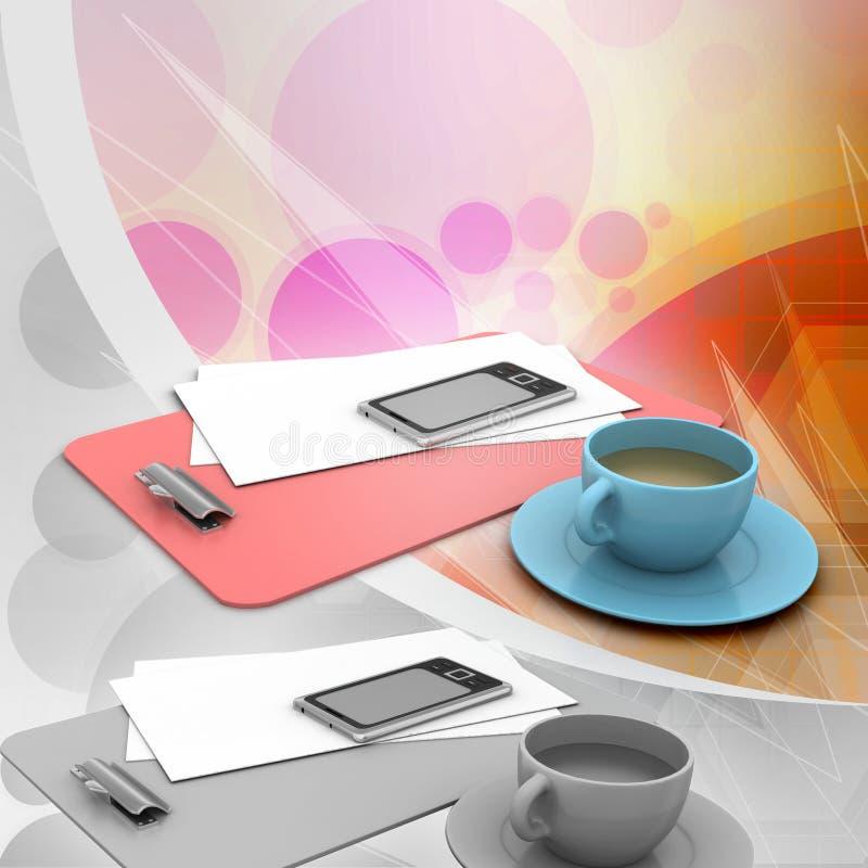 Teecup und frische Zeitung lizenzfreie abbildung