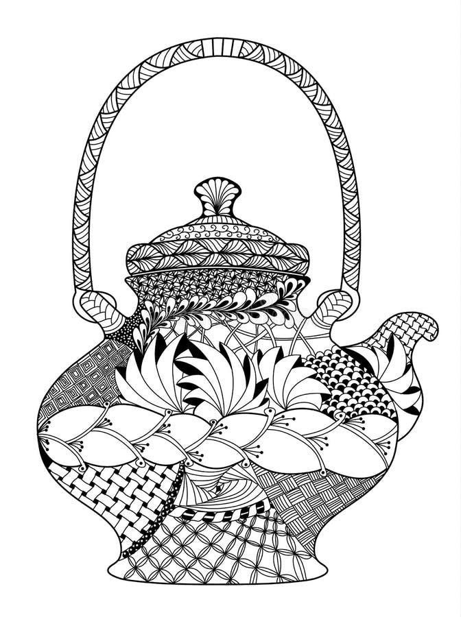 teekanne in hohem grade ausf hrliche illustration im zentangle vektor abbildung bild 64904855. Black Bedroom Furniture Sets. Home Design Ideas