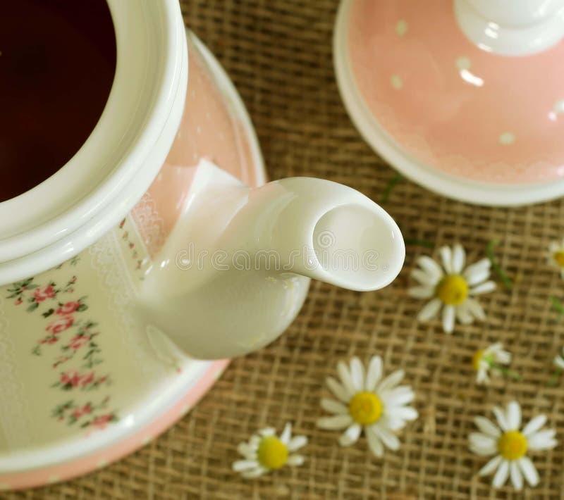 Teekanne mit beruhigendem camomille Tee und Nocken lizenzfreies stockfoto