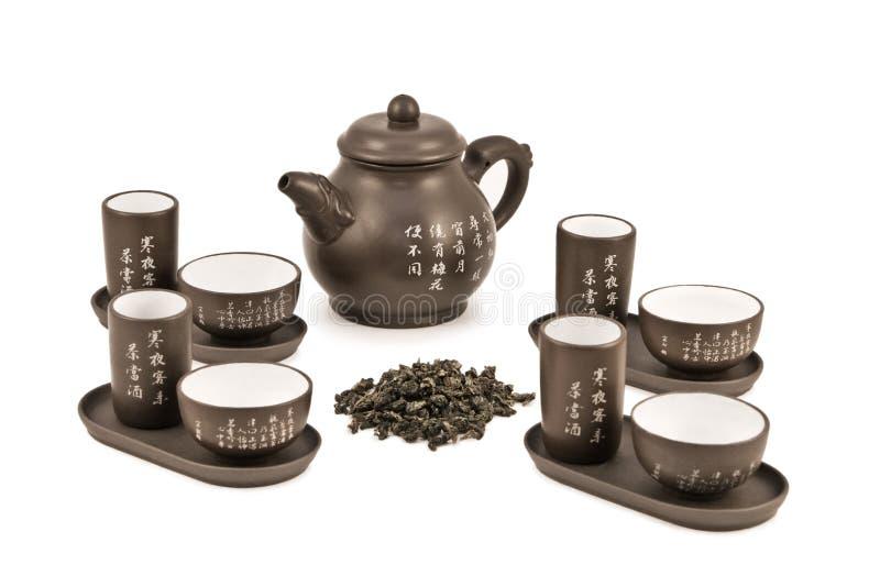 Teekanne und Cup für Tezeremonie stockfotos