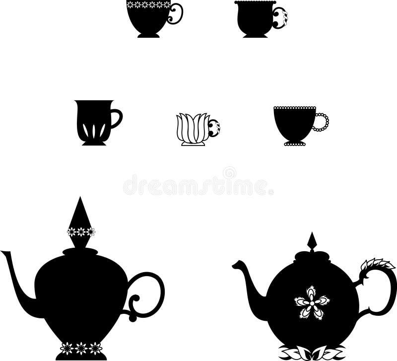 Teekannen und Cup stock abbildung