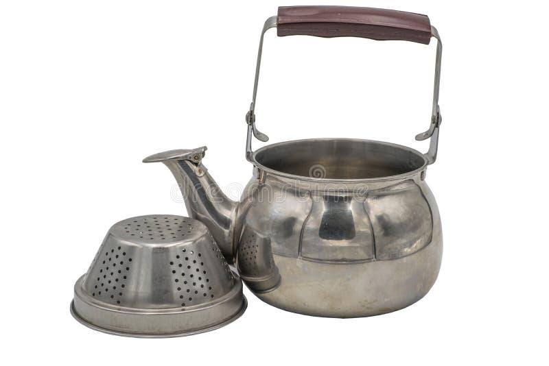 Teekannenedelstahlsieb für Teeblätter Isolat auf wei?em Hintergrund stockfotografie