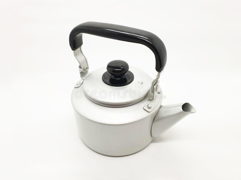 Teekessel ist eine Art Topf spezialisiert für kochendes Wasser mit einem Deckel, Tülle und Griff oder ein kleines Küchengerät 01 lizenzfreies stockfoto