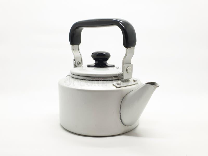 Teekessel ist eine Art Topf spezialisiert für kochendes Wasser mit einem Deckel, Tülle und Griff oder ein kleines Küchengerät 02 stockfotos