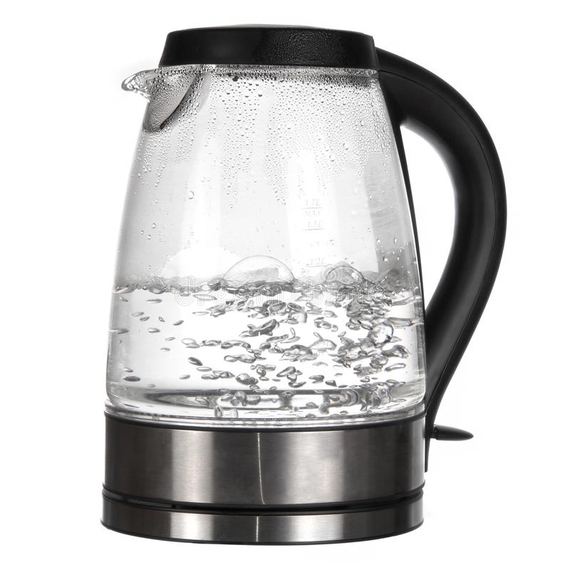 Teekessel mit kochendem Wasser lizenzfreies stockbild