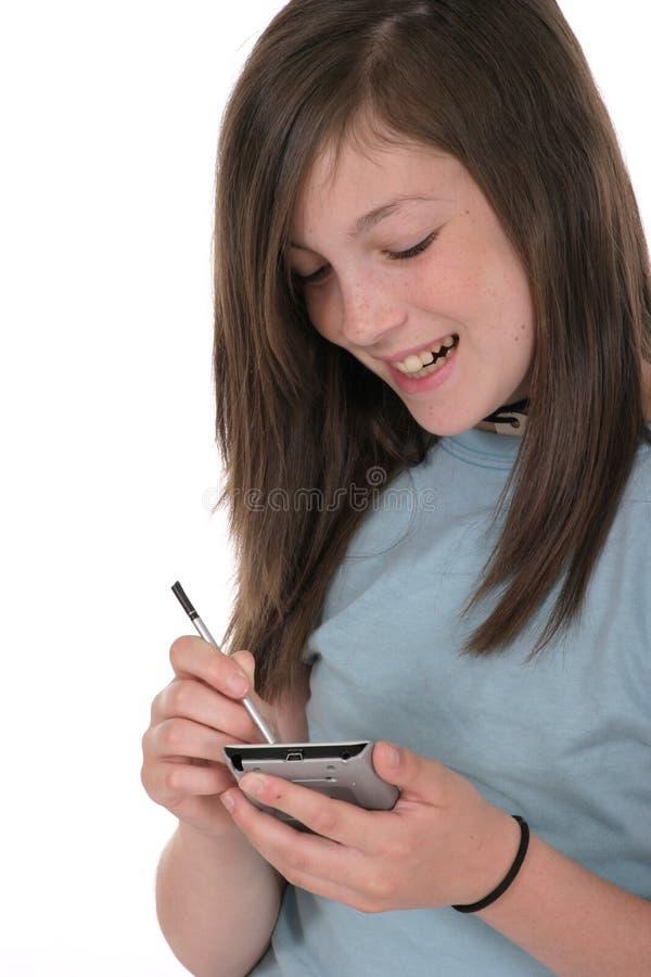 teen användande barn för flickapda pre royaltyfri foto