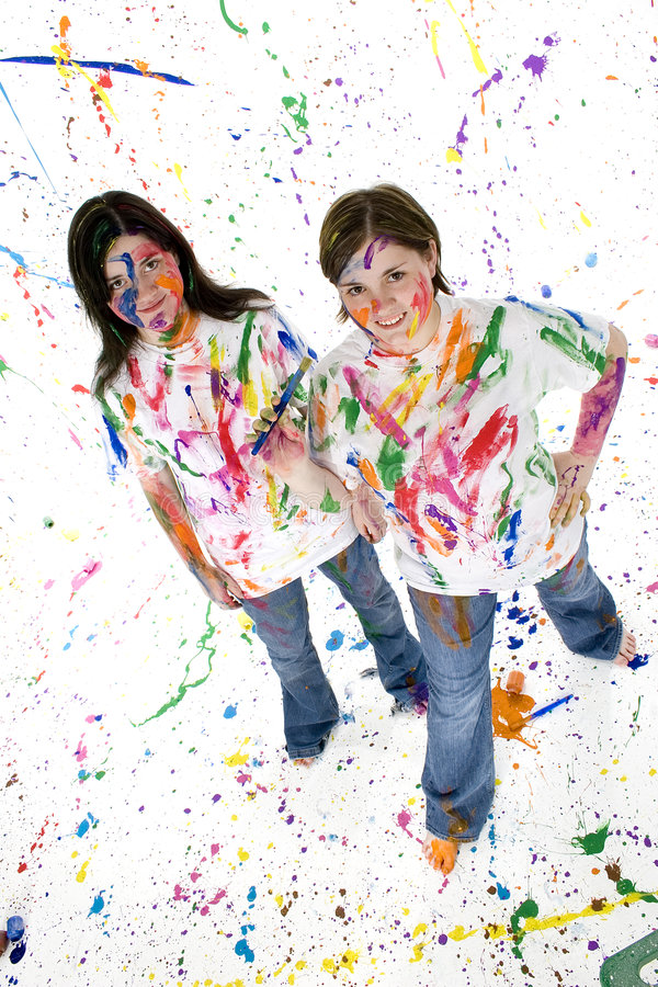 Download Teen Artist stock photo. Image of color, female, body, painting - 880160