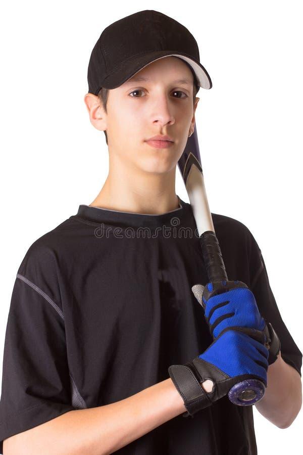 teen baseballpojkespelare arkivfoto